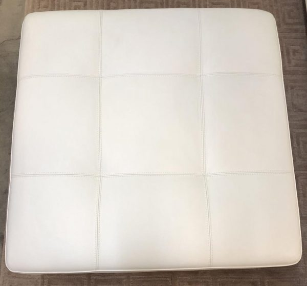 Anna's Mostly Mahogany Consignment - White Leather Ottoman