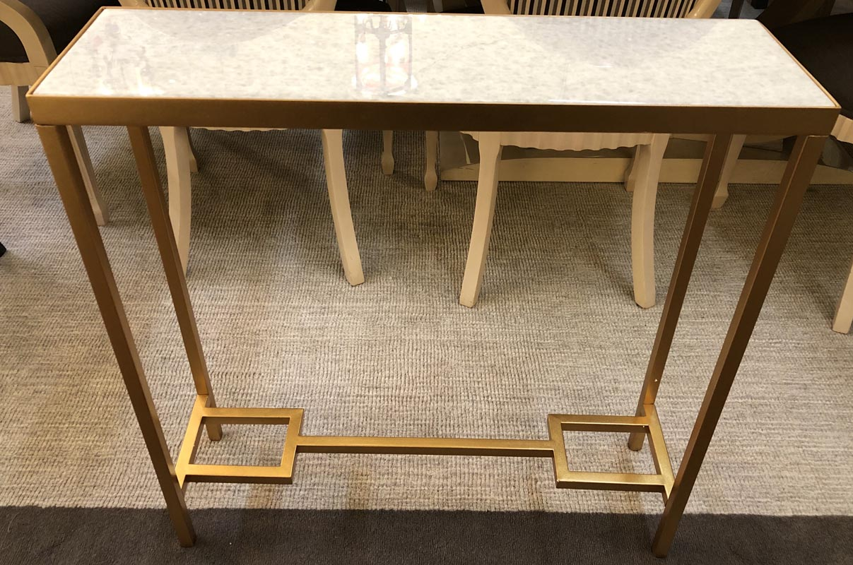 White Top Gold Frame Console Table