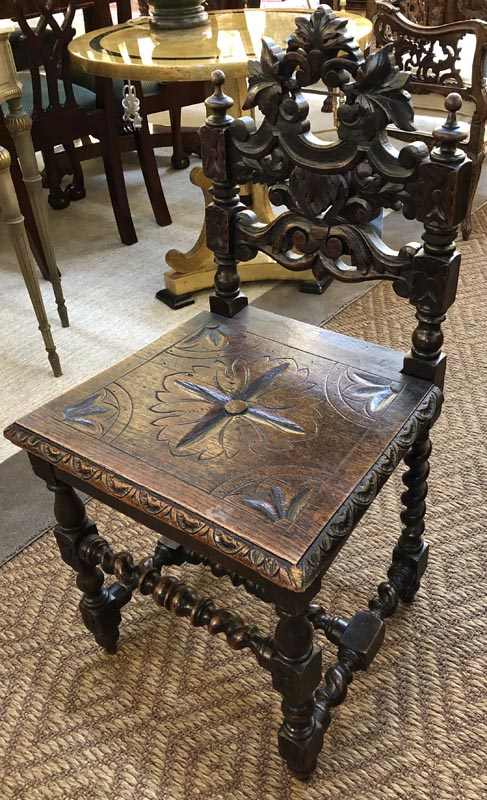 Anna's Mostly Mahogany Consignment - Carved Oak Chair