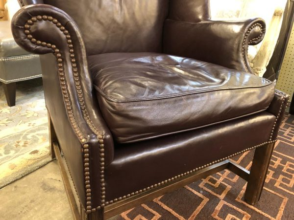 Anna's Mostly Mahogany Consignment - Wing Back Chair & Ottoman