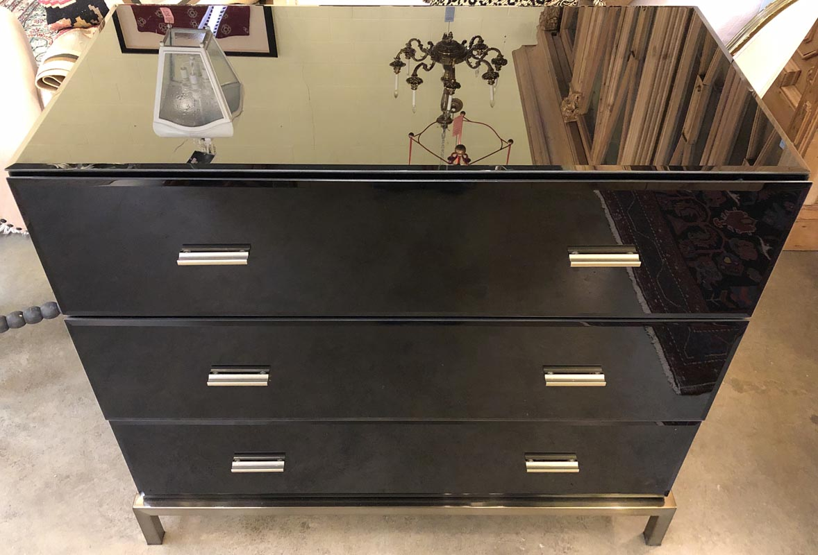 new style a0ff8 2e6a4 Black Mirrored Chest – Antique And Art Consignment ...