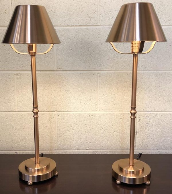 Anna's Mostly Mahogany Consignment - Pr Brass Lamps