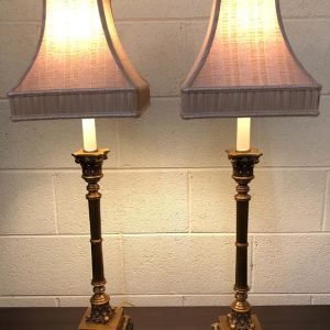 Anna's Mostly Mahogany Consignment - Pr Brass Column Lamps
