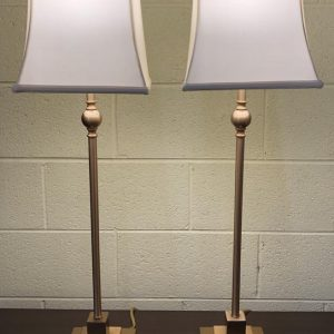 Anna's Mostly Mahogany Consignment - Pr Brass Candlestick Lamps