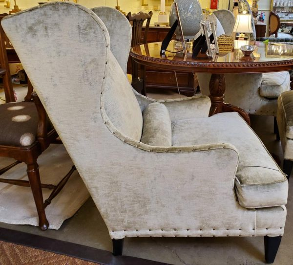 Anna's Mostly Mahogany Consignment - Pr Silk Velvet Wing Chairs