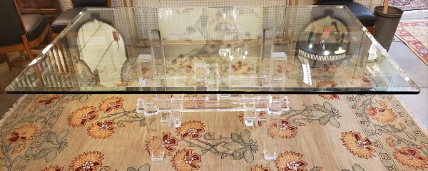Anna's Mostly Mahogany Consignment - Glass Dining Table