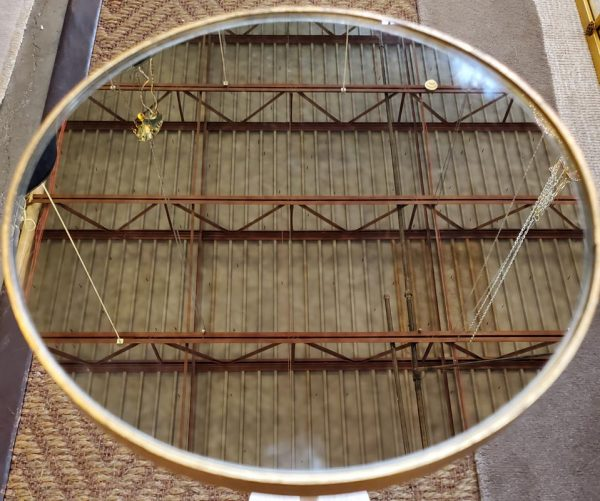 Anna's Mostly Mahogany Consignment - Gold Metal Round  Mirror Table
