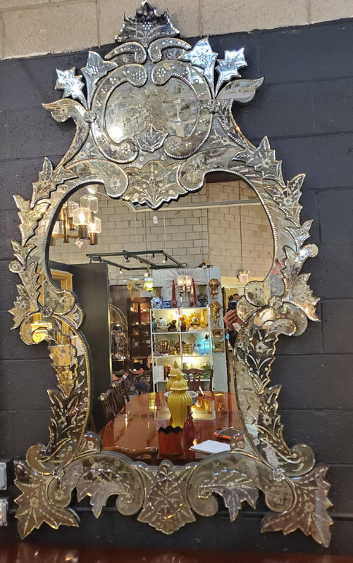 Anna's Mostly Mahogany Consignment - Large Venetian Mirror