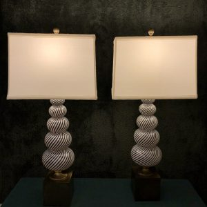 Anna's Mostly Mahogany Consignment - Pr Black and White Murano Lamps