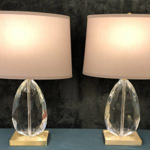 Anna's Mostly Mahogany Consignment - Pr Crystal Shape Lamps