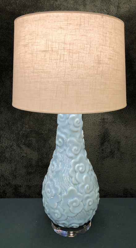 Anna's Mostly Mahogany Consignment - Pr Blue Ceramic Lamps