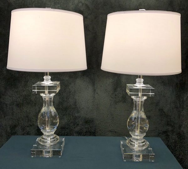 Anna's Mostly Mahogany Consignment - Pr Glass Column Lamps