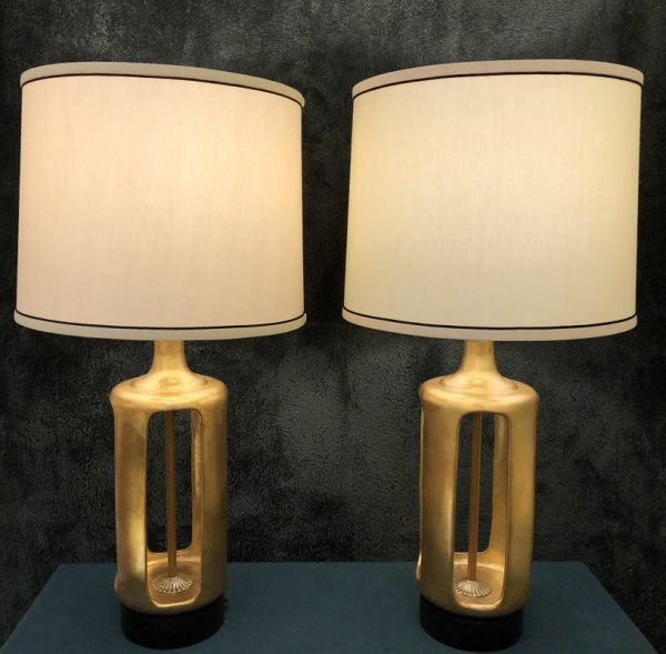 Anna's Mostly Mahogany Consignment - Pr Gold & Black Lamps