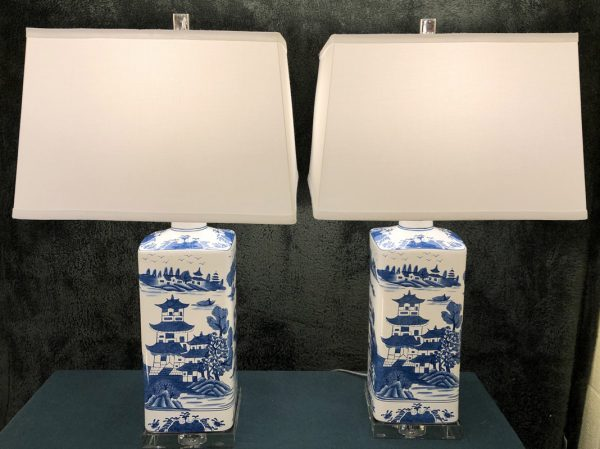 Anna's Mostly Mahogany Consignment - Pr Blue and White Asian Lamps