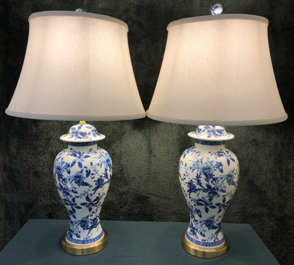 Anna's Mostly Mahogany Consignment - Pr Blue & White Floral Lamps