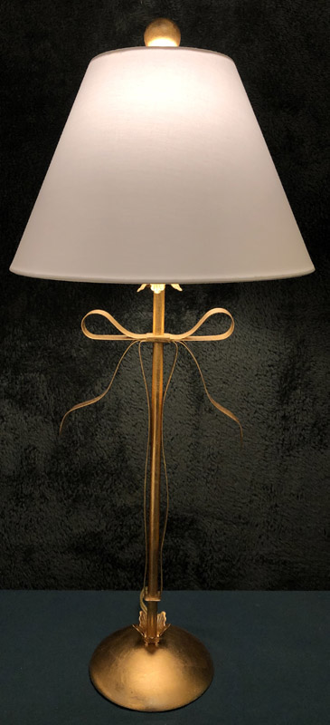Anna's Mostly Mahogany Consignment - Metal Gold Bow Lamp