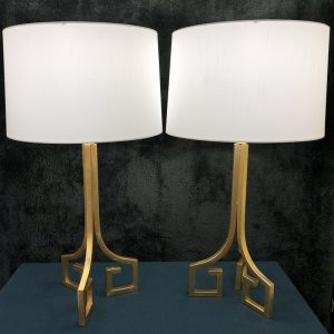 Anna's Mostly Mahogany Consignment - Pr Gold Greek Key Lamps