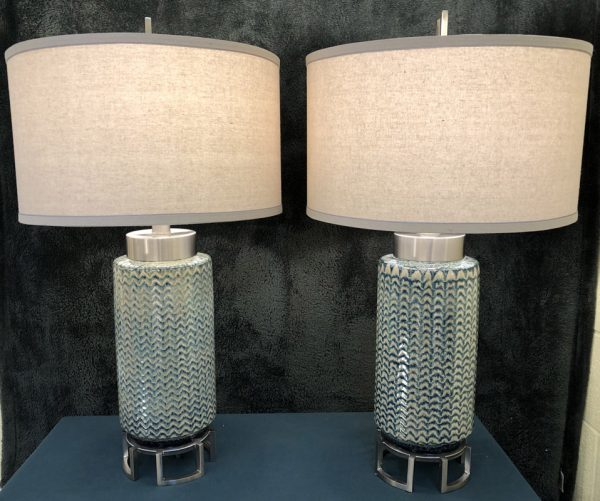 Anna's Mostly Mahogany Consignment - Pr Green Ceramic Lamps