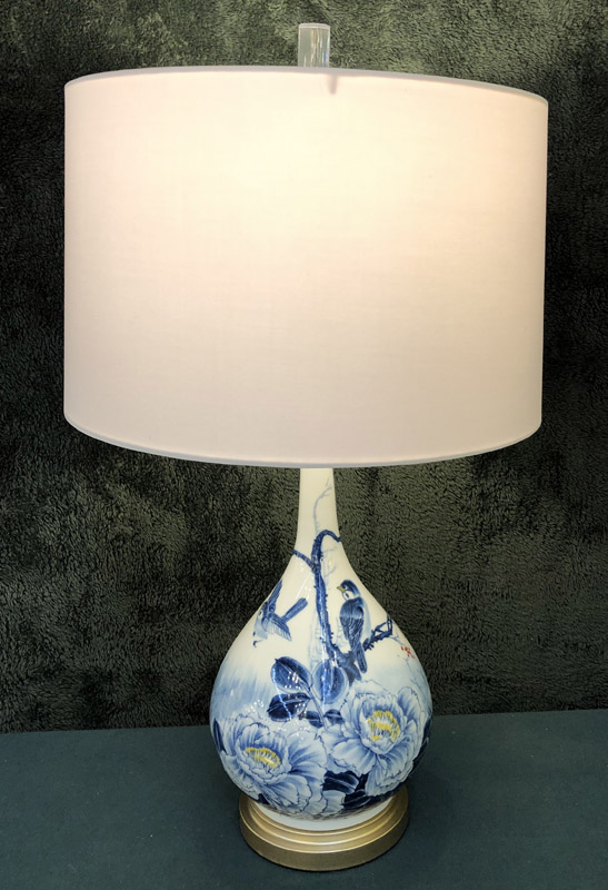 Anna's Mostly Mahogany Consignment - Pr Asian Floral Lamps