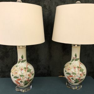 Anna's Mostly Mahogany Consignment - Pr Floral Vase Lamps
