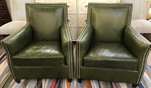 Anna's Mostly Mahogany Consignment - Pr Green Leather Chairs