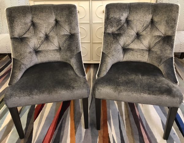 Anna's Mostly Mahogany Consignment - Pr Charcoal Tufted Chairs