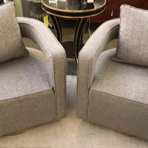 Anna's Mostly Mahogany Consignment - Pr Gray Swivel Chairs