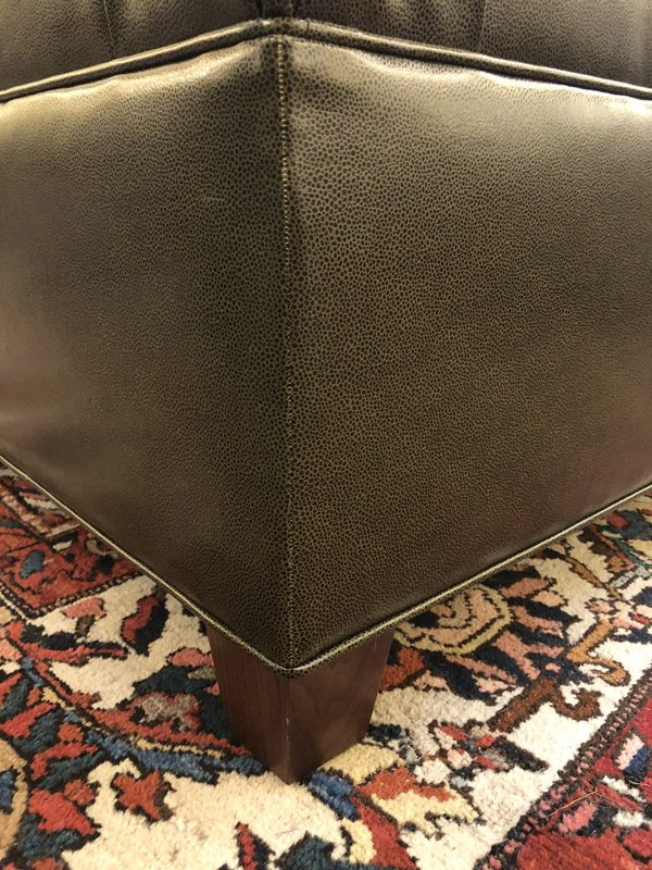 Anna's Mostly Mahogany Consignment - Green Leather Ottoman