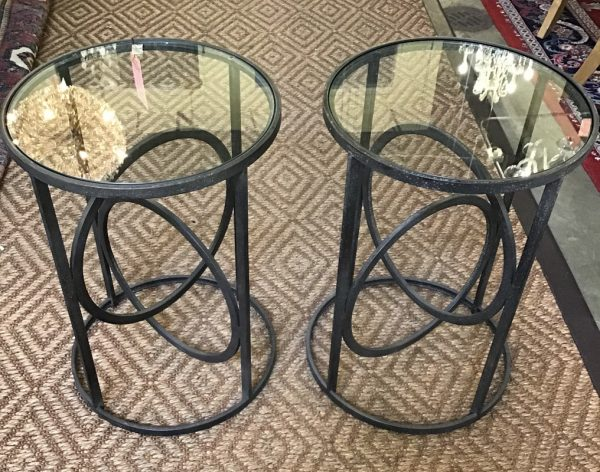 Anna's Mostly Mahogany Consignment - Pr Glass Top Tables