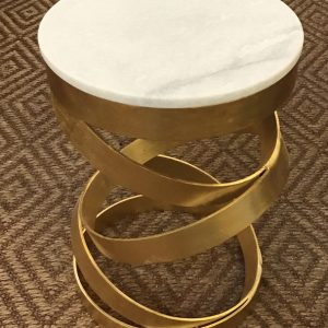 Anna's Mostly Mahogany Consignment - White / Gold End Table