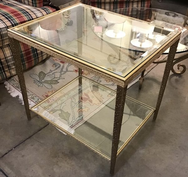Anna's Mostly Mahogany Consignment - Pr Metal End Tables