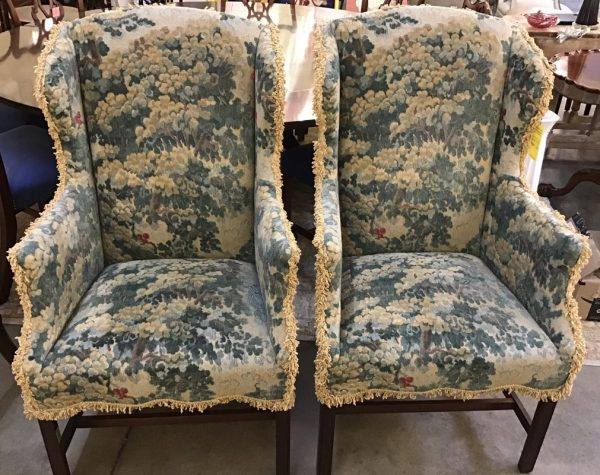 Anna's Mostly Mahogany Consignment - Pr Wing Chairs
