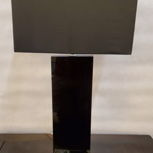 Anna's Mostly Mahogany Consignment - Pr Black Glass Lamps