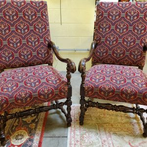 Anna's Mostly Mahogany Consignment - Pr Antique Jacobean Chairs