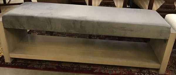 Anna's Mostly Mahogany Consignment - Gray/Blue Suede Bench