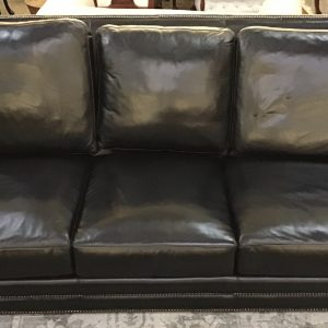 Anna's Mostly Mahogany Consignment - Black Leather Sofa