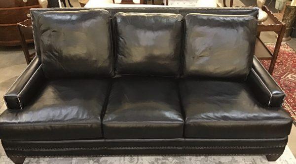 Anna's Mostly Mahogany Consignment - Black Leather Sofa