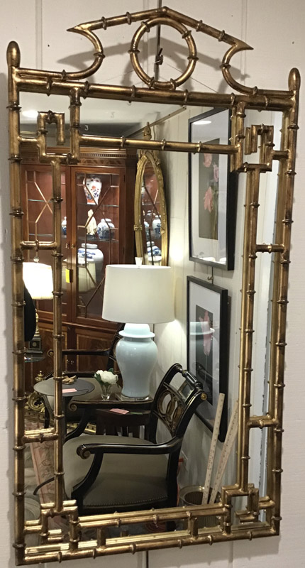 Anna's Mostly Mahogany Consignment - Gold Faux Bamboo Mirror
