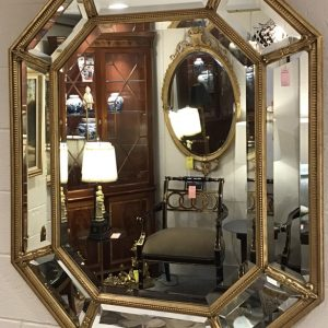 Anna's Mostly Mahogany Consignment - Gold Hexagon Mirror