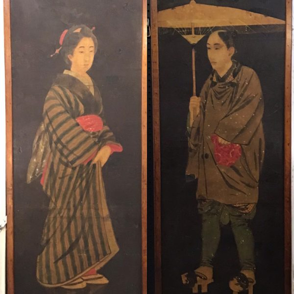 Anna's Mostly Mahogany Consignment - Pr Antique Japanese Scroll Prints