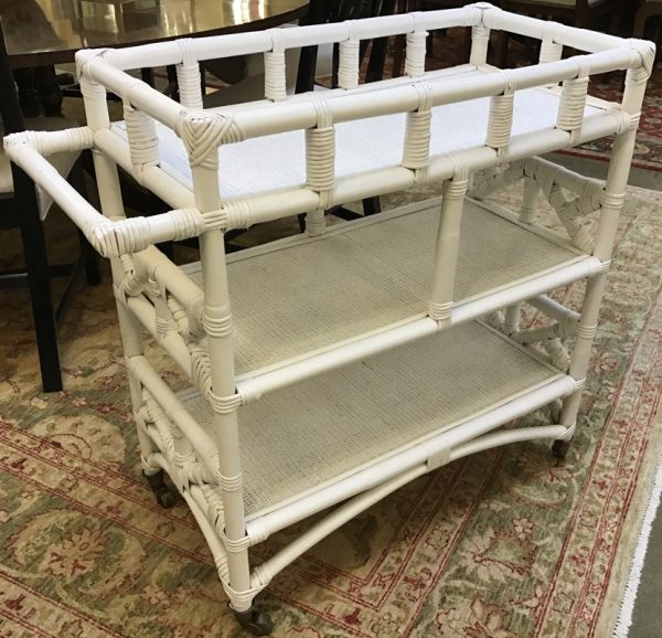 Anna's Mostly Mahogany Consignment - White Rattan Cart